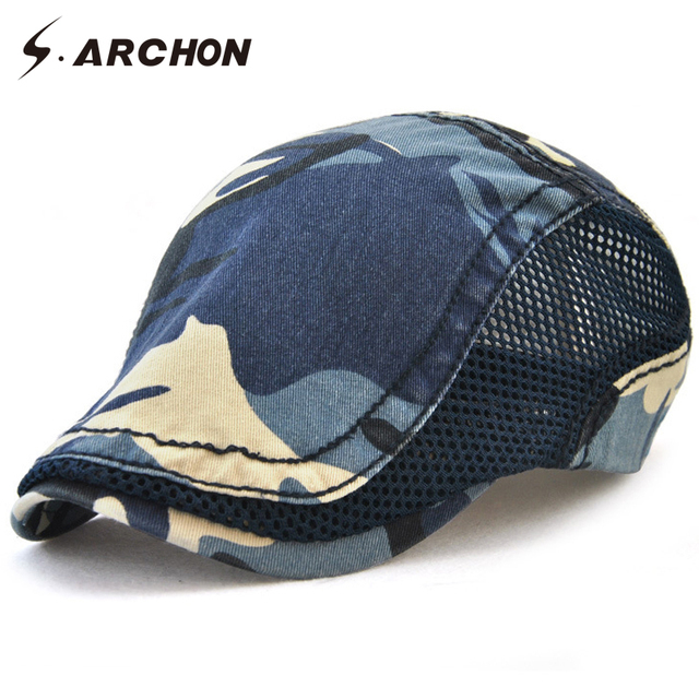ad52340472dfd S.ARCHON Spring Summer Beret Cap Camouflage Military Tactical Army Berets  Hat Men Casual Breathable Sunproof Caps 5 Colors