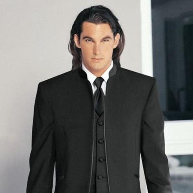 Красивый классический свадебный костюм черного цвета на заказ для мужчин, костюм жениха, мужские костюмы из трех предметов, 2017 приталенный