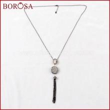 b46403eff217 Borosa handcraft La Perla Collar para mujeres natural titanio AB druzy perla  con ZIRCON Pave borla collar J160