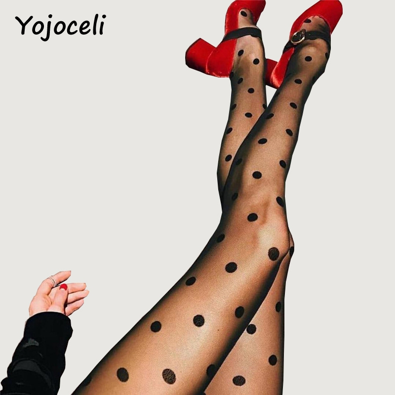 Yojoceli sexy black polka dot women stockings 2018 black mesh Women tights stocking slim women stocking