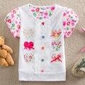 АККУРАТНЫЕ 2016 оптовая детская одежда летние футболки цветок девочка одежда с коротким рукавом кружева футболка детская одежда S2152 #