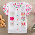 PURO 2016 crianças por atacado roupas de verão camisetas flor do bebê da menina roupas de manga curta camisa do laço t crianças roupas S2152 #