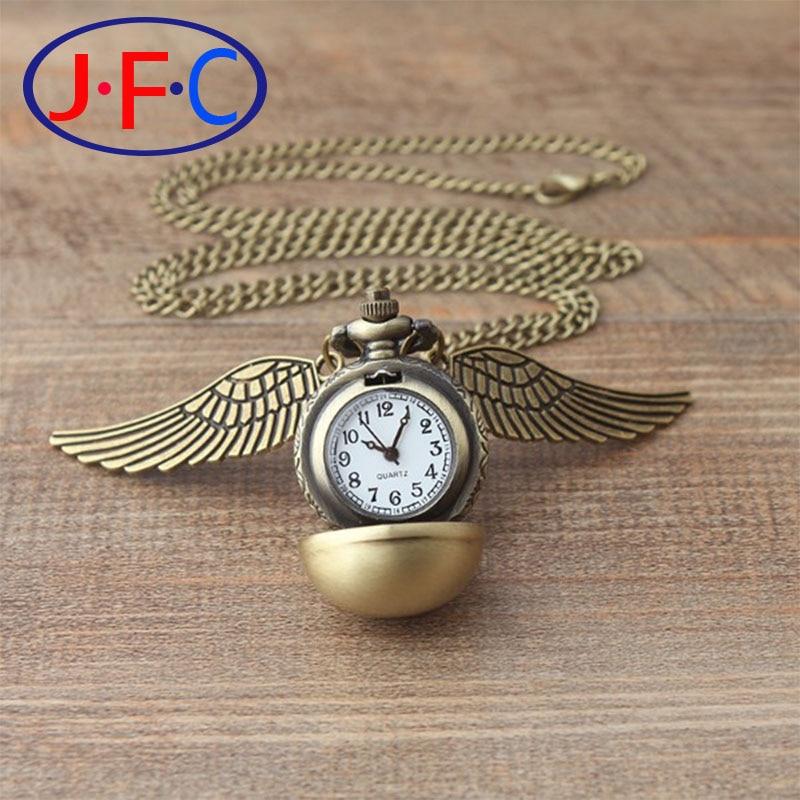 Fashion punk steampunk Harry potter quartz pocket real watch pendant gold silver snitch wings necklace for men women unique harry potter phoenix shape pendant necklace for women