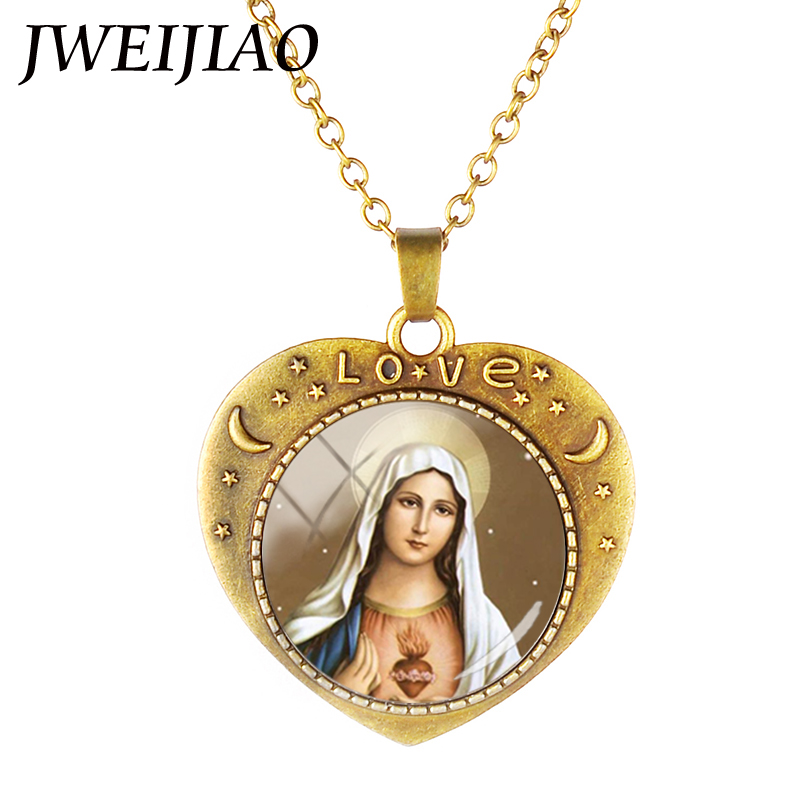 Antique Bronze Virgin Mary Pendants Necklaces Chain Heart Shape Goddess Charms Glass Dome Christianity Jewelry VM01