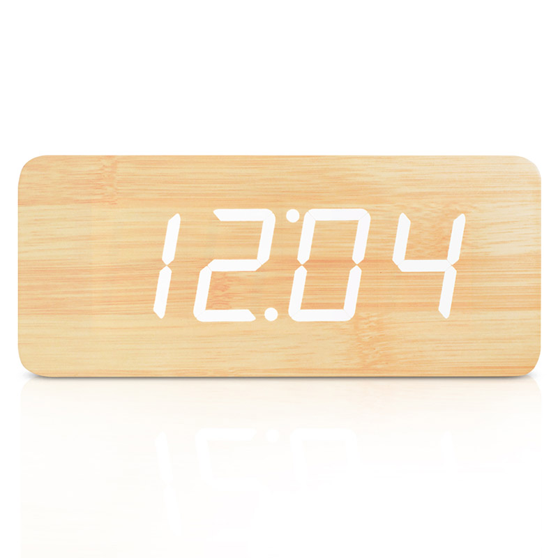 21cm Big!! Nice home decor Wood LED Digital Clock Sound Control Big Numbers Wooden Electronic Alarm Clock With Temperature