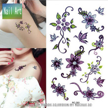 Temporary Tattoos Waterproof Tattoo Stickers Body Art Painting For Party Decoration Hand Leg Purple Flower Vine