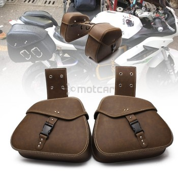 Motorcycle Motorbike Retro Vintage Durable PU Leather Old School Saddlebags Saddle Bags Pouch Tool Bags 1pair For Harley Honda