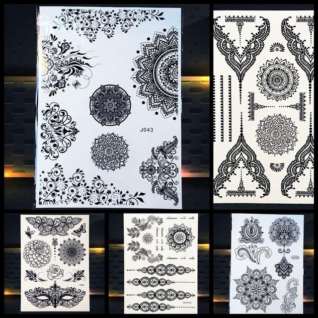 25 Estilo Caliente Impermeable Negro Henna Tatuaje Mandala Flor