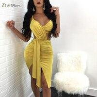 ZTVitality New 2018 Fshion Yellow sexy Irregular Backless V Neck Dress Winter Women Dresses Party Dress Vestidos