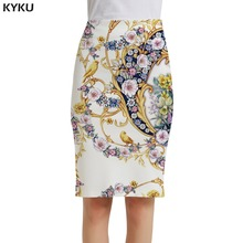 KYKU Flower Skirts Women Art Party Bird Office Animal Pencil Harajuku 3d Print Skirt Ladies Womens Knitted Funny Japanese