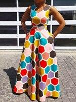 Clocolor Women Maxi Dresses Sleeveless Floor Length Print Expansion Dress Pink Hight Waist Summer Long Gown