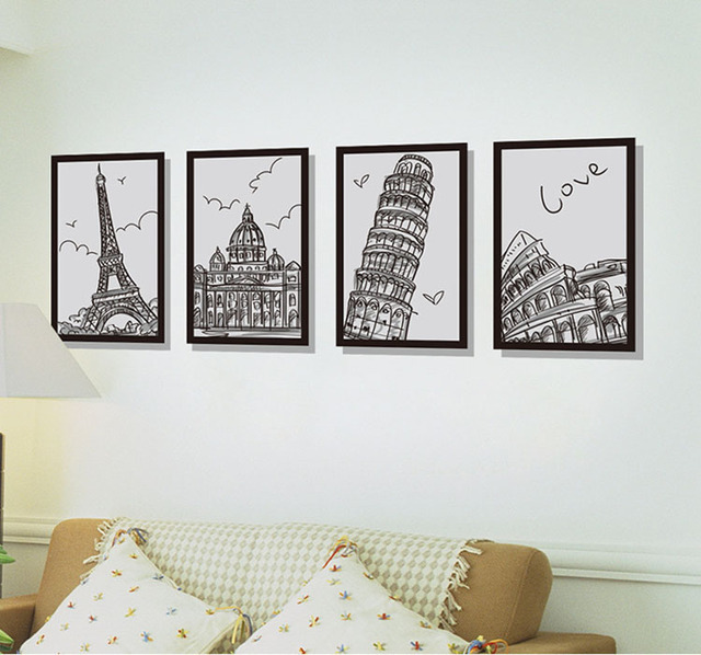 Architectural Photo Frame Four Drawings Large Wall Stickers Home Decor  Living Room Diy Mural Decals Removable