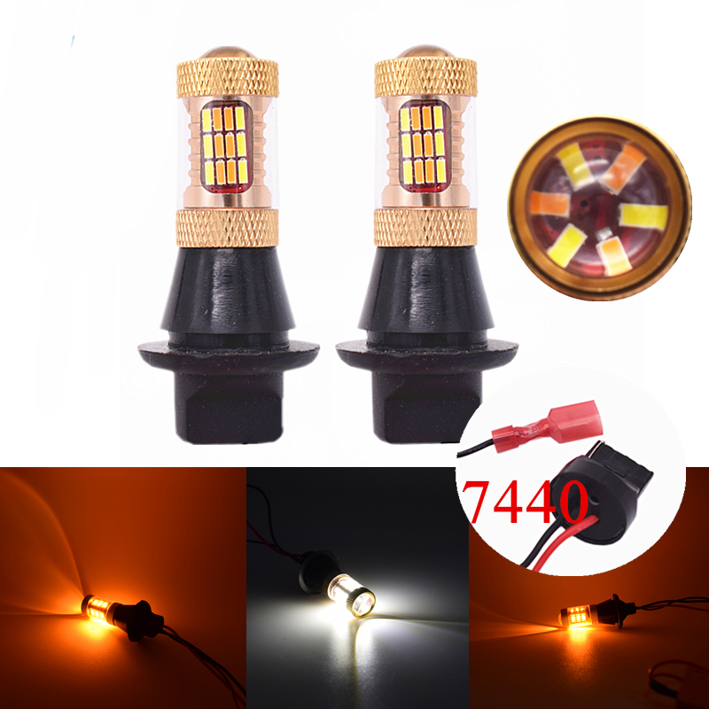 New 2x Dual Color 54SMD 4014 White Amber T20 7440 LED Bulbs For Front Turning Lights DRL Error Free Canbus 2pcs brand new high quality superb error free 5050 smd 360 degrees led backup reverse light bulbs t15 for jeep grand cherokee