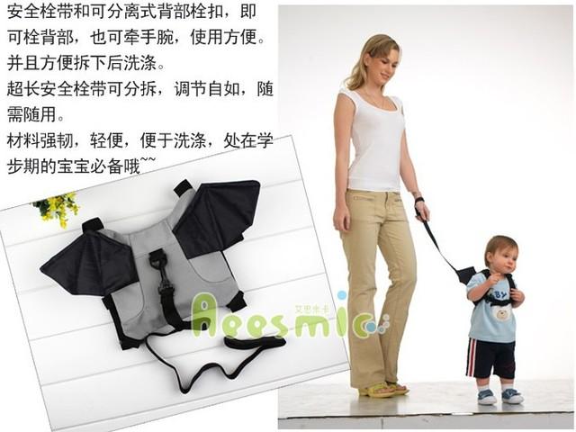 Candice guo paño lindo bat forma juguete del bebé Aprendiendo a caminar bebé correa del niño con banda contra la pérdida del cabrito de la navidad regalo de cumpleaños 1 unid