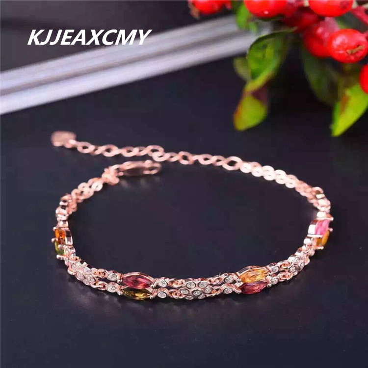 KJJEAXCMY Fine jewelry Natural Crystal 925 sterling silver inlay natural Brazil tourmaline female bracelet, small fre