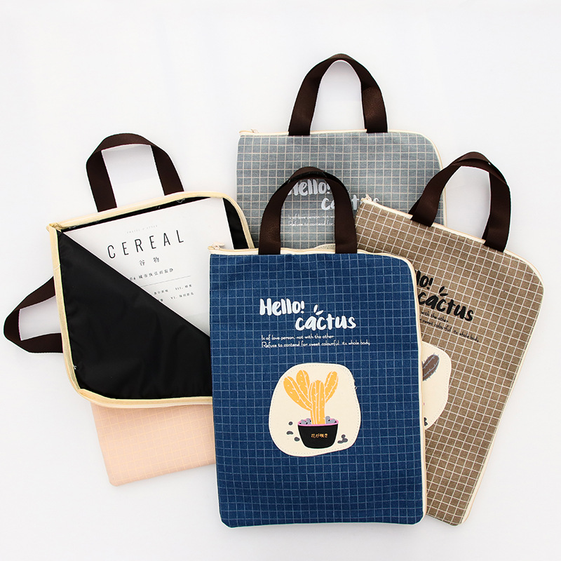 A4 Cactus Canvas Pouch Document Paper File Holder Bag Folder Storage Portable Filling Bag Zipper Bag Office School Stationery