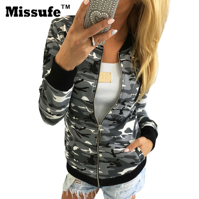 Missufe 2017 primavera camuflagem bombardeiro casaco cardigan mulheres jaqueta piloto estande básico casual clothing slim mulheres outwear topos de mujer