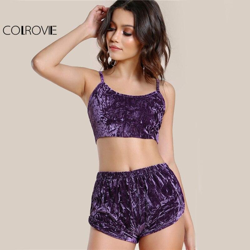1b27e8b97d70 COLROVIE de terciopelo Sexy 2 unidades conjunto púrpura de las mujeres Cami  Top con pantalones ...