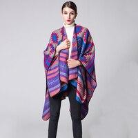 AZUE Women Warm Winter Poncho Ethnic Fashion Scarf Ladies Knitted Blanket Shawl Thicken Warm Cape Pashmina