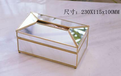 Золотая стеклянная зеркальная коробка для салфеток высокое качество стеклянная коробка для хранения косметики с зеркальной крышкой коробка-держатель для салфеток - Цвет: L mirror