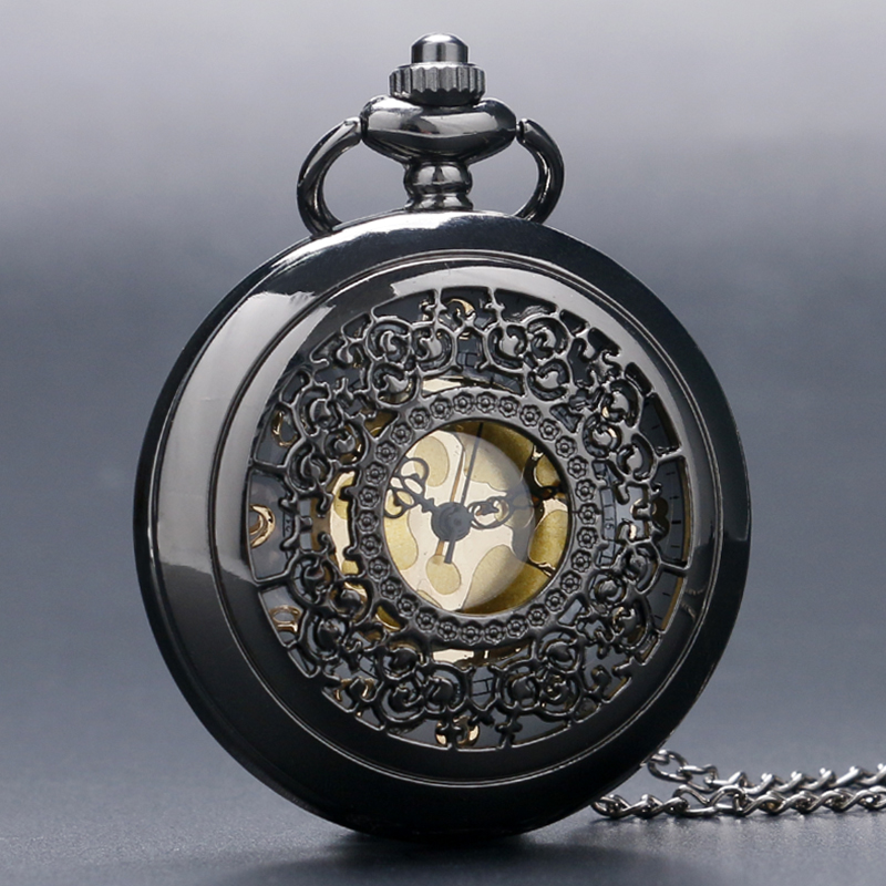 Vintage Black Skeleton Web Quartz Pocket Watch Steampunk Men Women Fob Watches Analog Clock Antique Necklace Jewelry Gift P240