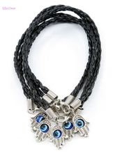 Hot ! 10pcs HAMSA HAND Evil Eye Black String Bracelets - Lucky Charm Pendant 16cm-20cm SL4054