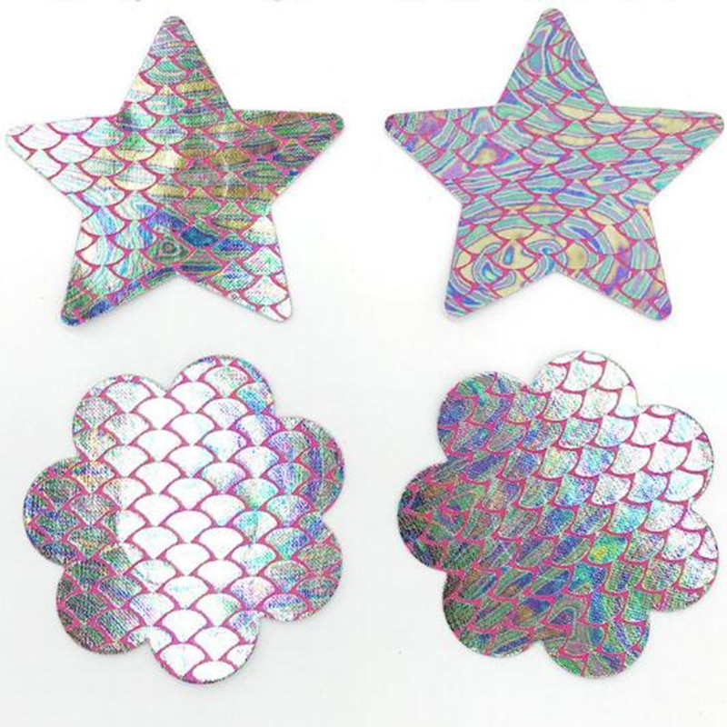 5 Pairs Mermaid Pattern Nipple Cover Laser Disposable Nipple Petals Sex Star Heart Boob Stickers Cross One Time Cover For Breast Women's Intimates Underwear & Sleepwears