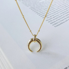 New Arrivals 100% 925 Sterling Silver Simple Moon Pendant Necklaces For Women European Style Crescent Statement Necklace