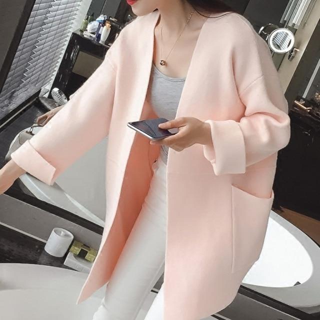 2018 winter Women Long Sleeve loose knitting cardigan sweater Womens Knitted Female Cardigan pull femme