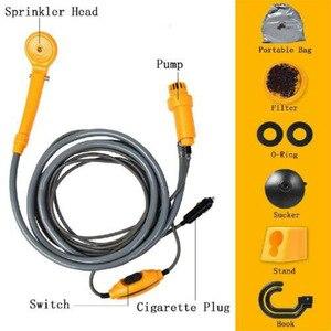 Image 5 - Seyahat Duş Taşınabilir Araba Yıkama 12 V Elektrikli araba girişi Açık Kamp Zammı Yıkama Pompası için Kamp Duş pompa borusu Kiti Kanca