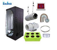 Hydropoinics Complete indoor grow tent kits 80x80x160cm with DWC bucket, LED grow light and ventilation equipment