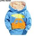 Pouco maven 2016 meninos outono inverno roupas de marca crianças Hoodies & Camisolas de Algodão quente do carro prancha fleece L010