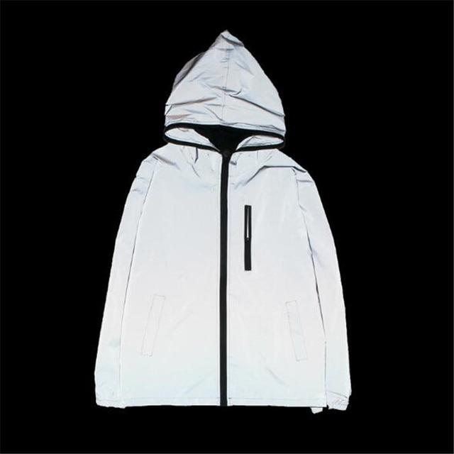 b8e44c0cc Men Jacket Spring Autumn Reflective 3M light hoodies Jacket movement Hip  Hop Waterproof Windbreaker hooded Fluorescent Men Coat