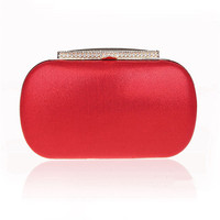 velvet women bag day clutches small purse bag crystal silk evening bags black/red candy color tote plain color handbag WY94