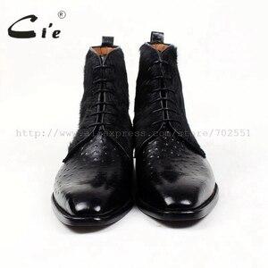 Image 3 - Cie darmowa wysyłka Handmade włosia końskiego/Empossed strusia skóra cielęca podeszwa Buttom oddychający kolor czarne męskie skórzane buty A86