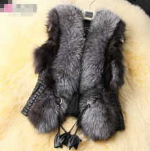 Autumn and winter women's fashion faux fox fur vest outerwear lady's winter faux fur leather waistcoat  plus size  3XL