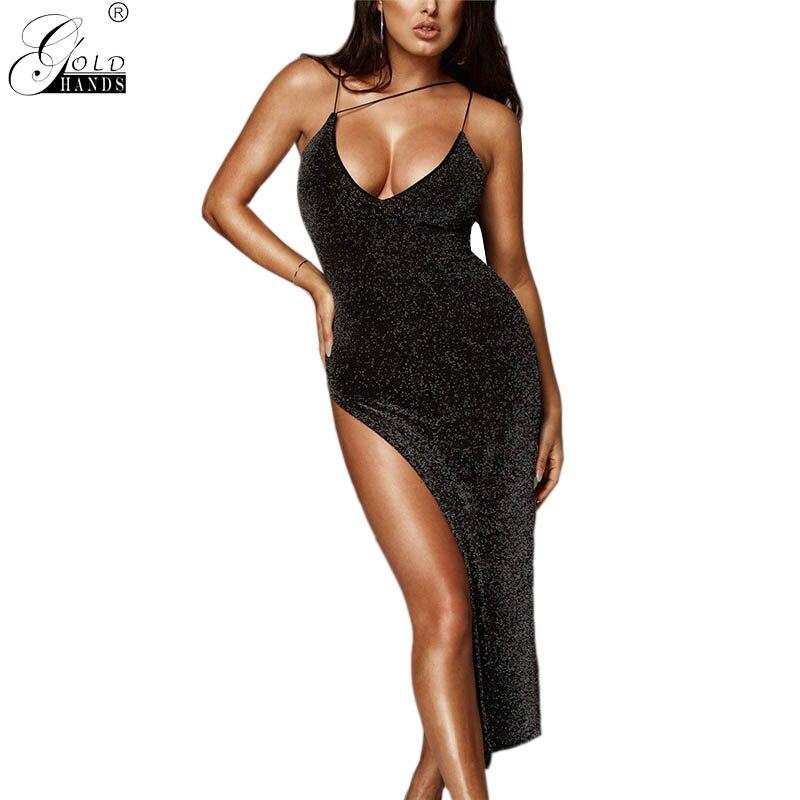Gold Hands Streetwear Spring Women Slim Dresses Summer Female Casual V-neck Spaghetti Strap Split Skinny Pencil Sexy Party Dress