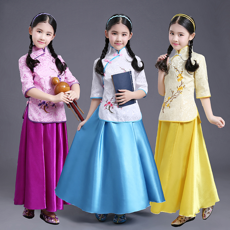 2019 Hanfu Children's Girl The Republic Of China Princess Dress Kids Folk Clothing Traditional Ancient Chinese Costumes DNV11034