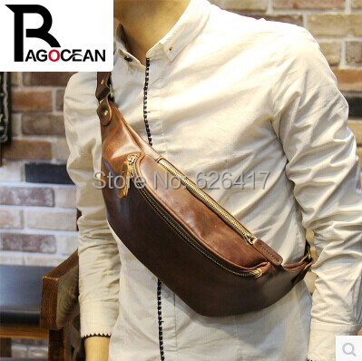 New  fashion PU leather men waist messenger bag cross outdoors travel bag Money Belt Waist Pack fashion brown free shipping