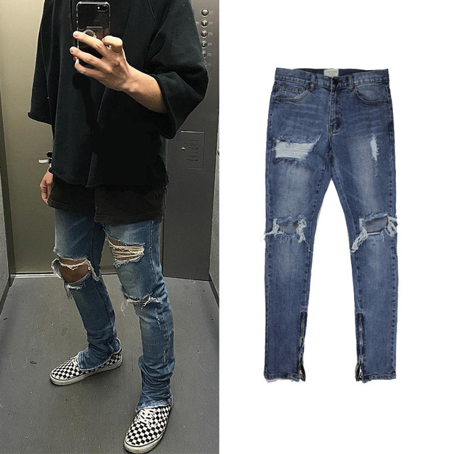 Justin Bieber Jumpsuit Celana Panjang Mewah Pria Perkotaan Hip Hop Punk Motor Moto Biru Tertekan Jeans Sobek Skinny Ritsleting Pergelangan Kaki Ripped Jeans Skinny Rippedripped Jeans Jean Aliexpress