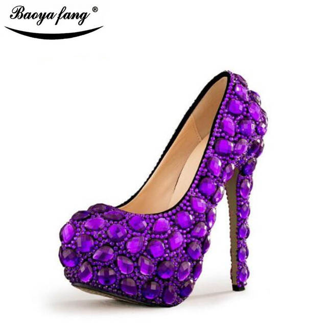 d5548ed645d Purple Womens wedding shoes high heels platform shoes Ladies Paty Dress  shoes with matching purse Big