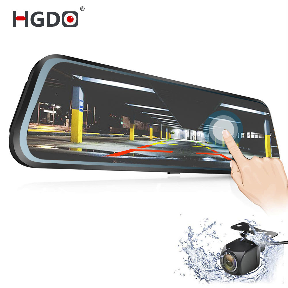 HGDO Video-Recorder Dvrs Rearview-Mirror Car-Camera Touch-Screen Dual-Lens Autoregister