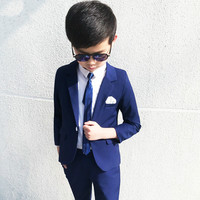 Fashion Kids Blazer Baby Boys Suit Jackets 2019 Coat Pants 2 Piece Boy Suits Formal For Wedding Chlidren Clothing