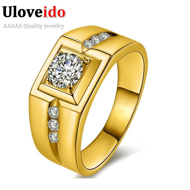 Uloveido Gold Color Wedding Male Rings for Mens