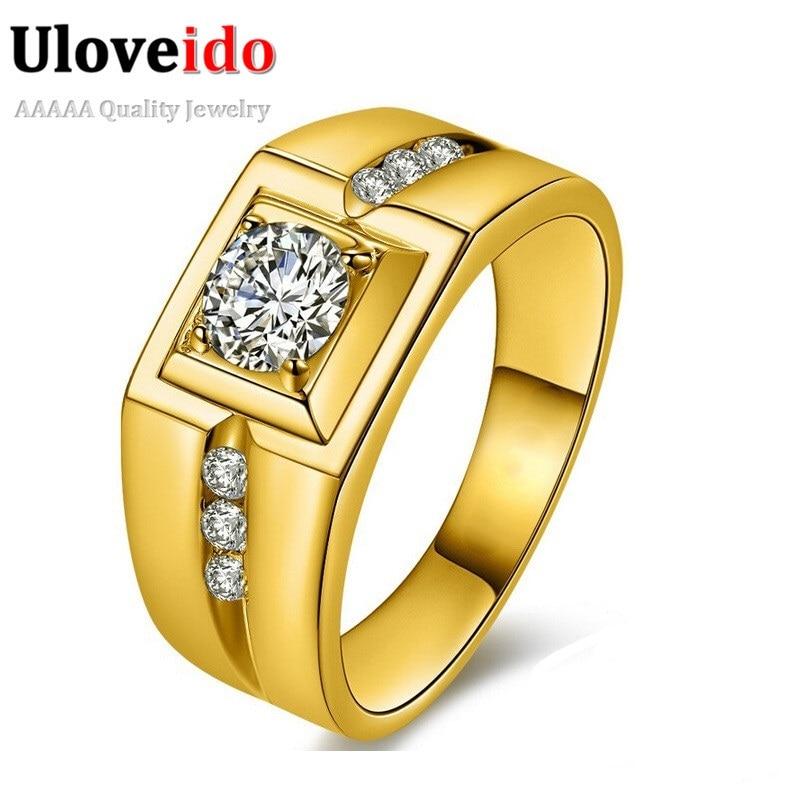 Uloveido Gold Color Wedding Male Rings for Men