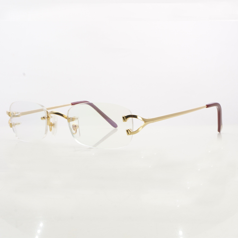 957c5d5638 Vintage Eye Glasses For Women Metal Clear Rimless Optical Glasses Frame  Carter Womens Eyeglasses Designer Brand