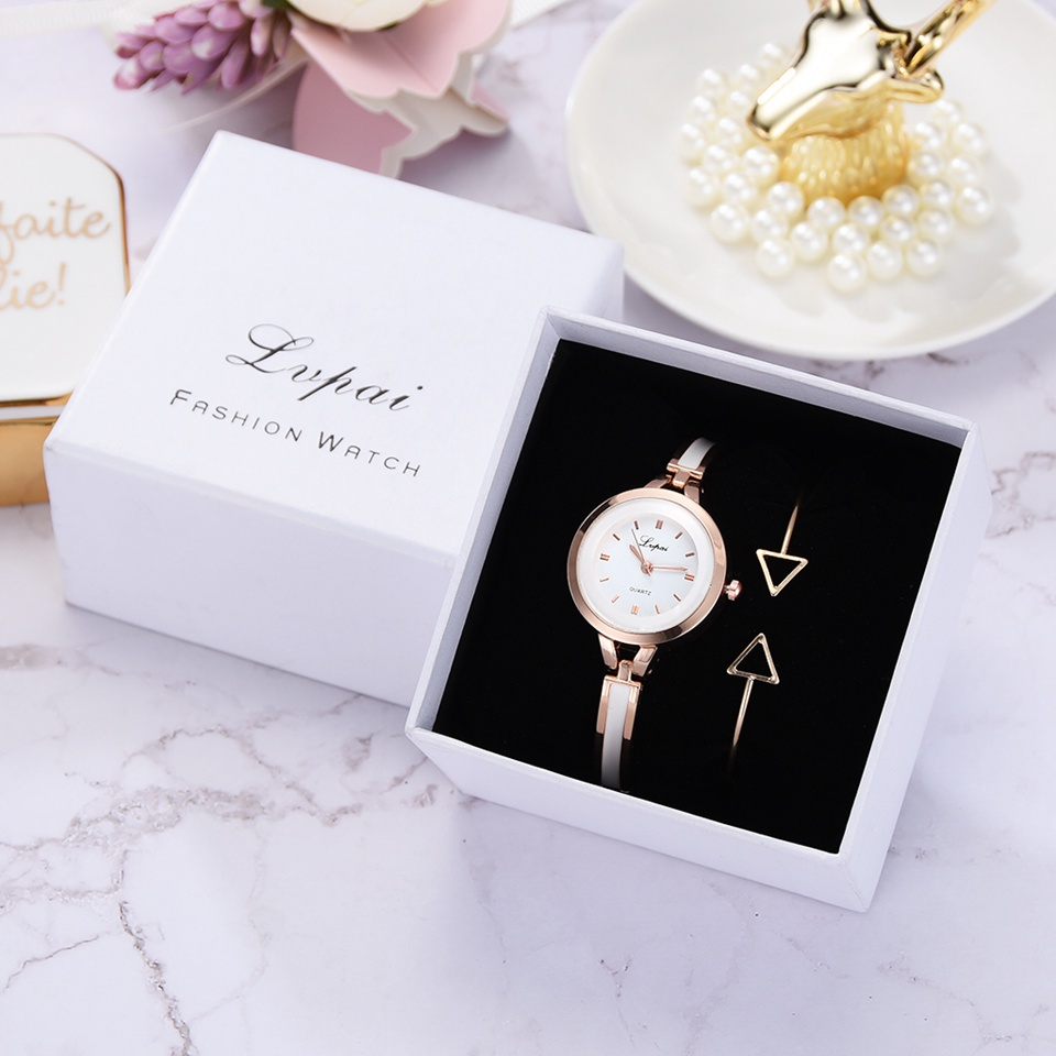 Lvpai Rose Gold Quartz Watch Women Clock Luxury Brand Stainless Steel Bracelet Watches Ladies Dress Wristwatches Relogio