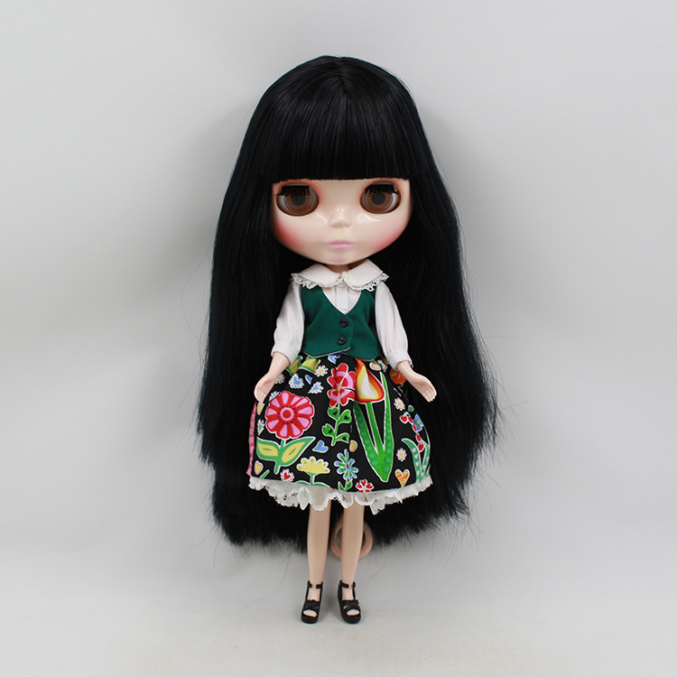 free shipping factory blyth doll 230BL9601 with bangs/fringes black Hair normal regular body 1/6 8a free shipping malaysian body wave 4 by 4 inch lace frontal closure with 2 bundles body wave hair weft black bouncy nlwhair