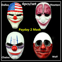 Resin handmade prop Online Games Heist Payday Dallas Wolf Chains Hoxton A full set of Mask Halloween Cosplay Masquerade Costume