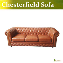 U-BEST NEW SOFT LEATHER CHESTERFIELD SOFA  in BROWN 3  SEATERS  CLUB SOFA,THREE SEATER